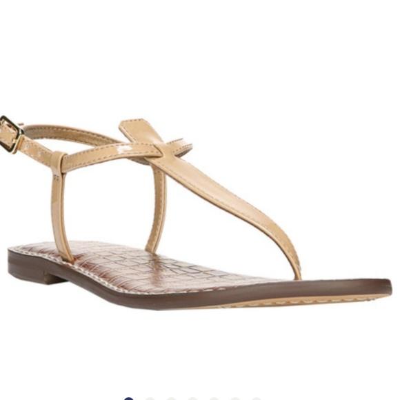 0359ba74f5a10a Sam edelman gigi thong sandals in almond patent. M 5c54de7c0cb5aaa2de713c41